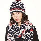 Maje Jacquard knit beanie with pompom