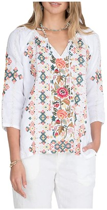 Johnny Was Chandra Linen Peasant Blouse (White) Women's Clothing