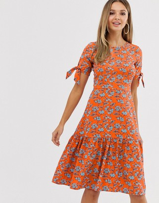 Closet London Closet tie short sleeve hem dress-Orange