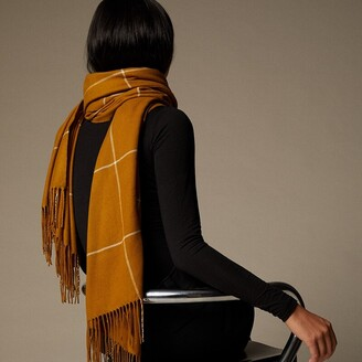Love & Lore Love And Lore Supersoft Scarf Golden Brown Windowpane