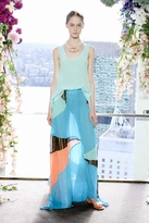 Suboo Quilla Qua Pleated Maxi Skirt in Blue Multi