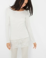 White House Black Market Long-Sleeve Lace-Hem Tee