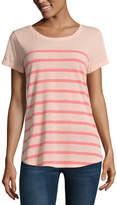 A.N.A a.n.a Ana Striped Boyfriend Tee Short Sleeve V Neck Stripe T-Shirt-Womens
