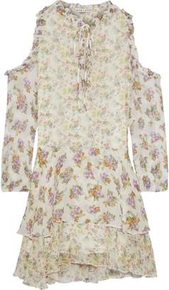 Alice + Olivia Glynda Cold-shoulder Tiered Floral-print Crinkled Chiffon Mini Dress