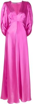 Alberta Ferretti Empire Line Cut-Out Long Silk Dress