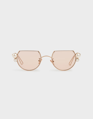 Charles & Keith Swarovski Crystal Pearl Embellished Cut-Off Round Sunglasses