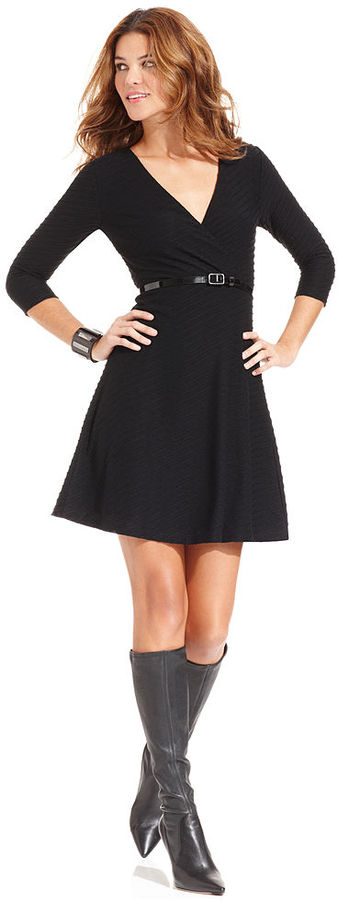 Spense Petite Dress, Three-Quarter-Sleeve Belted A-Line