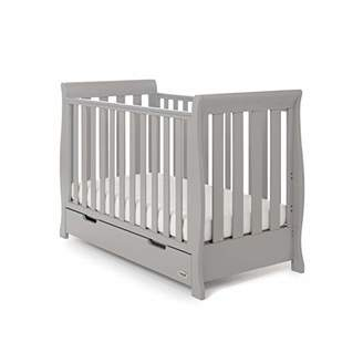 O Baby Obaby Stamford Sleigh Mini Cot Bed and Eco Foam Mattress - Warm Grey