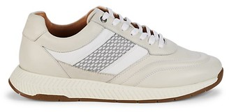 HUGO BOSS Textured Logo Leather Sneakers