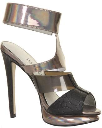 Paper Dolls Footwear Black & Metallic Ankle Strap Platform Heel