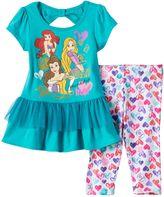 Disney Princess Rapunzel, Ariel & Belle Tiered Bow Back Tunic & Heart Print Leggings Set