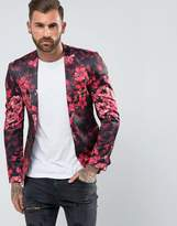 Asos Super Skinny Blazer With Pink Floral Print