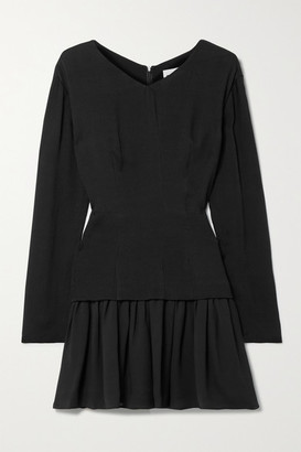 TOVE Iris Silk-crepon And Georgette Mini Dress - Black