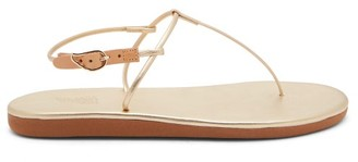 Ancient Greek Sandals Katerina T-bar Leather Sandals - Womens - Gold