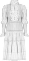 Natasha Zinko Ruffle-trimmed lace-insert cotton dress