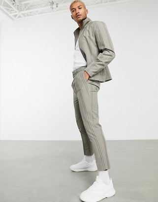 ASOS DESIGN co-ord skinny smart trousers in grey pinstripe