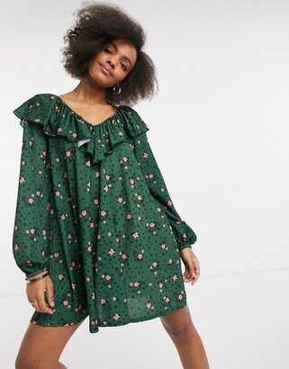 ASOS DESIGN long sleeve v-neck with tie neck detail in forest green and pink floral