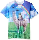 Goodie Two Sleeves Men's Humor Cat Rides Llamacorn Adult T-Shirt