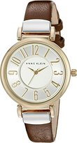 Anne Klein Women's AK/2157SVBN Easy To Read Two-Tone and Brown Leather Strap Watch