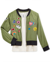 Beautees Girls' 2-Pc. Patched Bomber Jacket and Tank Top Set