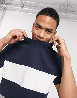 Asos DESIGN organic t-shirt with body color block in navy