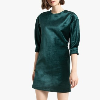 Velvet Short Shift Dress with 3/4 Length Sleeves