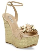 Casadei Leather Fringe Espadrille Wedge Sandals