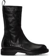 Rick Owens Black Cracked Creeper Boots