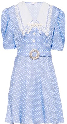 Miu Miu Polka-Dot Crystal-Embellished Dress