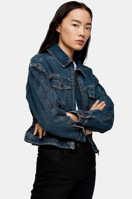 Topshop Womens Considered Authentic Wash Peplum Denim Jacket With Recycled Cotton - Mid Stone