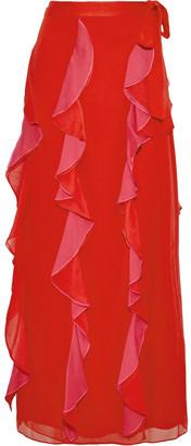 Diane von Furstenberg Salona Ruffled Two-tone Silk-georgette Maxi Wrap Skirt