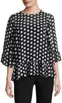 MICHAEL Michael Kors Ruffle-Trim Dot-Print Top