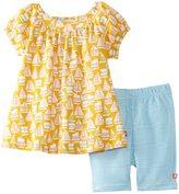 Zutano Girls 2-6X Toddler Riviera Short Sleeve Viola Top and Bike Short Set