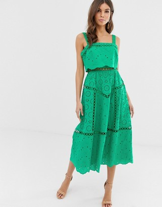 Asos Design DESIGN broderie cami midi prom dress with lace inserts-Green