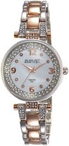 August Steiner Women's AS8137TTR Rose Gold And Silver Swiss Quartz Watch with Silver Mother of Pearl Dial and Crystal Accented Rose Gold & Silver Bracelet
