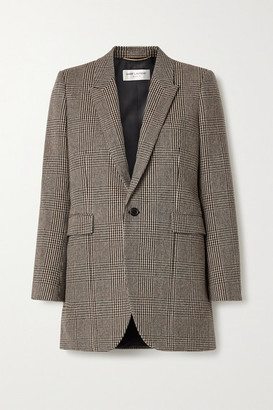 Saint Laurent Checked Wool-blend Blazer - Gray
