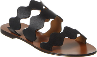 Chloé Lauren Scalloped Leather & Suede Sandal