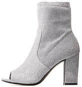 Charlotte Russe Glitter Peep Toe Ankle Booties
