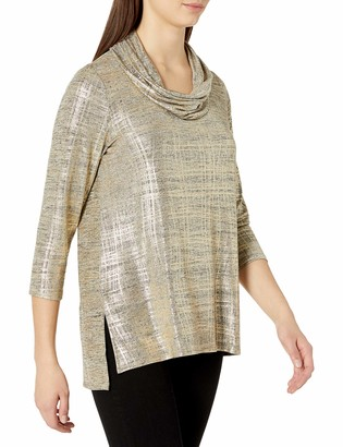 Ruby Rd. Women's Cowl-Neck Foiled Melange Knit Top with High Low Hem