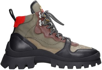 DSQUARED2 Trank Cliff Combat Boots In Green Synthetic Fibers