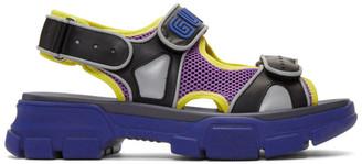 Gucci Black and Blue Aguru Sandals