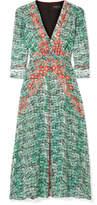 Saloni Eve Printed Silk Crepe De Chine Midi Dress - Green