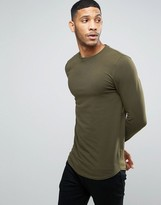 Asos Longline Muscle Long Sleeve T-shirt With Curve Hem In Green
