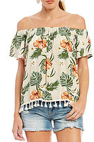 Miss Me Tropical Print Off-The-Shoulder Tassel Top