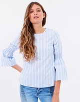 Warehouse Stripe Flared Cuff Top