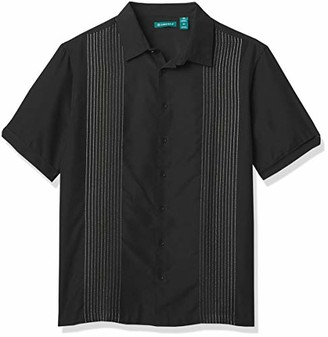 Cubavera Men's Big & Tall Short Sleeve Ombre Embroidered Stripe Shirt
