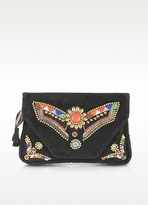 Antik Batik Kiro Large Black Envelope Clutch