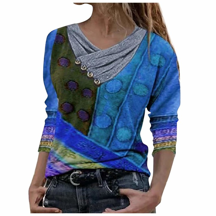 Kuyaya Women's Sexy Chic Summer Loose Short Sleeve V-Neck Floral Print T-Shirt Top Women's Fashionable Button Neck Top with Printed Seams - Multicolour - One size