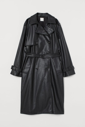 H&M Faux Leather Trenchcoat - Black