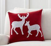 Pottery Barn Reindeer Velvet Appliqué Pillow Cover